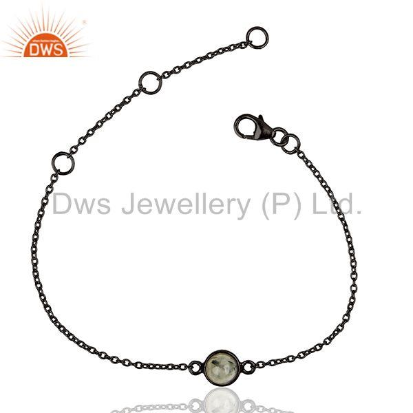 Black Rutile Gemstone 925 Silver Black Rhodium Plated Chain Bracelet