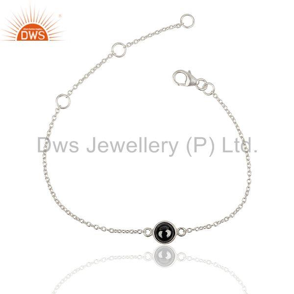 Hematite Gemstone Solid 925 Fine Silver Chain Bracelet Suppliers