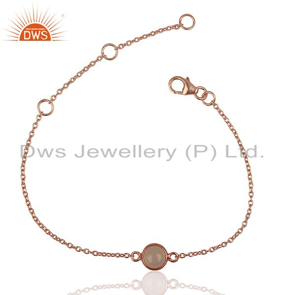 Round Rose Quartz Gemstone Rose Gold Plated Silver Women Bracelet