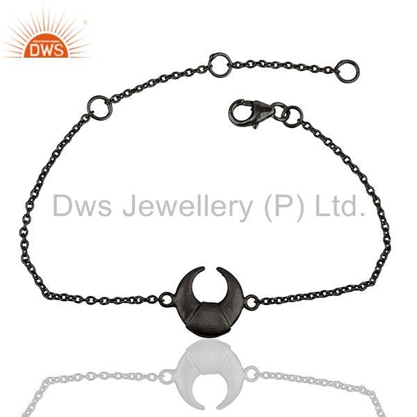 The Crescent Moon 92.5 Sterling Silver Black Rhodium Plated Chain Bracelet
