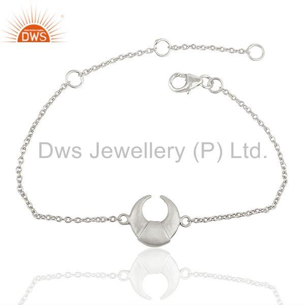 Moon Charm 925 Sterling Silver Chain Bracelet Wholesale Jewelry