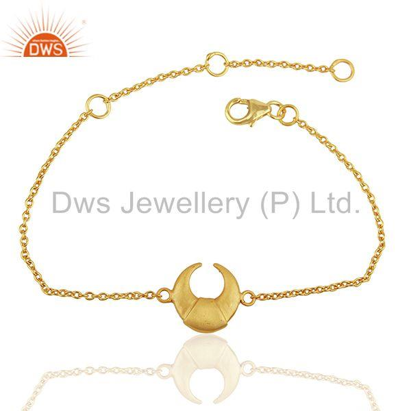 Moon Design Charm 92.5 Sterling Silver Gold Plated Chain And Link Bracelet