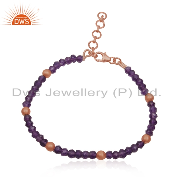 Beaded Amethyst Gemstone Rose Gold Plated 925 Silver Strand Bracelet Wholesale