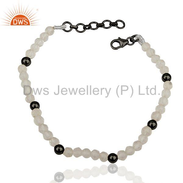Black 925 Silver Beads and Crystal Quartz Beaded Bracelet Manufacturer