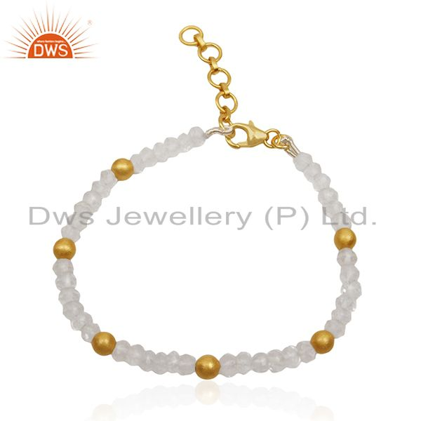 Beaded crystal quartz and round 925 silver beads bracelet manufacturer