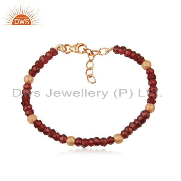 Garnet Gemstone Rose GOld Plated 925 Silver Beaded Bracelet Manufacturer India