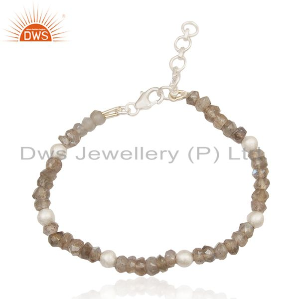 Labradorite Gemstone Fine Sterling Silver Beaded Bracelet Manufacturer India