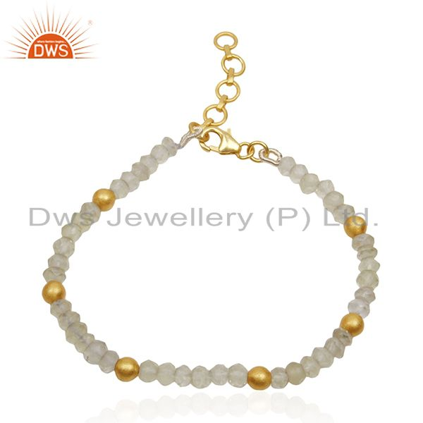 Lemon Topaz Gemstone Sterling Silver Gold Plated Beaded Bracelet Wholesale