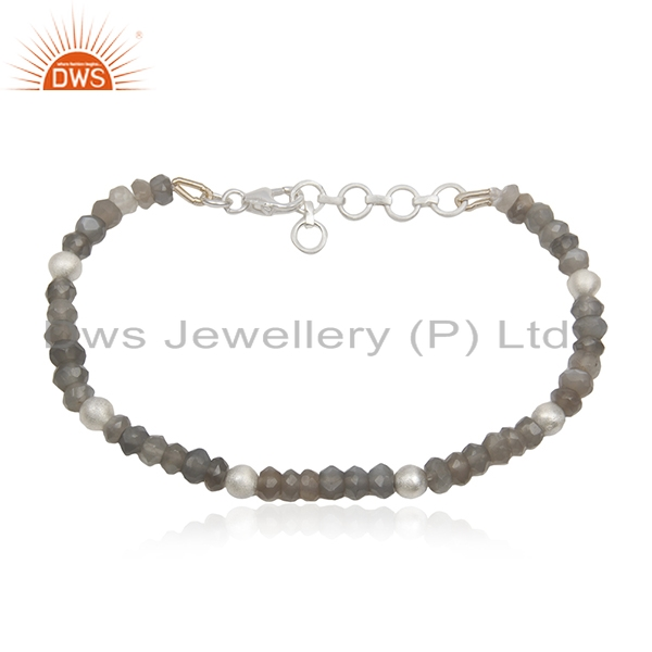 Gray Moonstone 92.5 Sterling Silver Beaded Gemstone Bracelet Manufacturers India