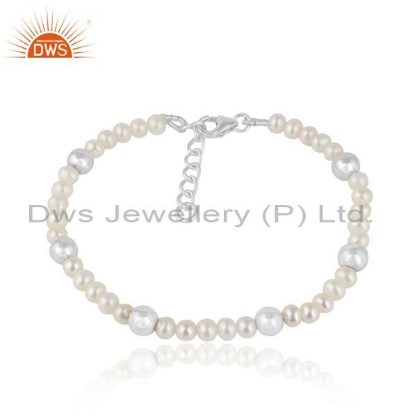 Natural Pearl Beaded Sterling Silver Designer Bracelet Jewelry