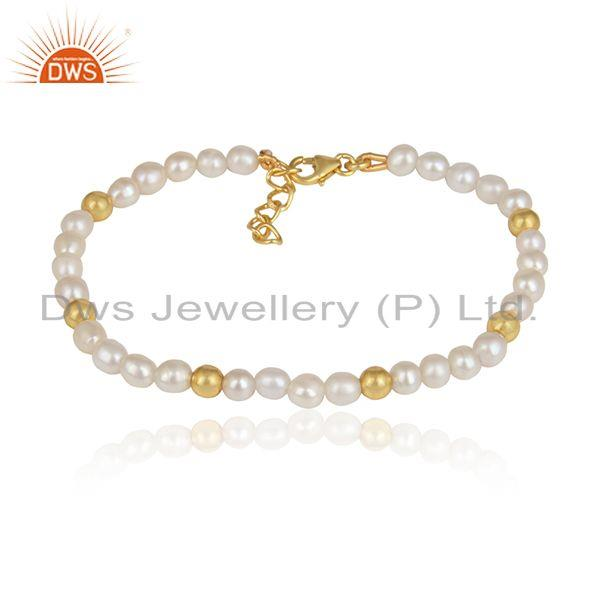 Natural Pearl Gemstone Beaded Gold Plated Silver Bracelet Jewelry