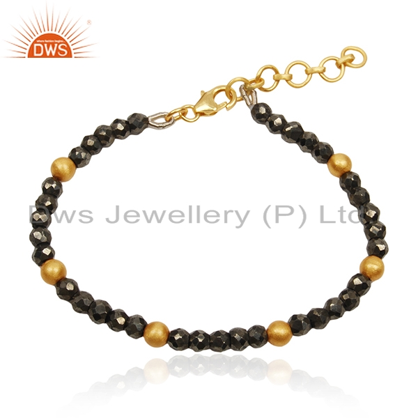 Pyrite Gemstone 925 Silver Gold Plated Beaded Bracelet For Womens Jewelry