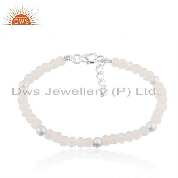 Beaded Rainbow Moonstone Fine Sterling Silver Bracelet Manufacturers