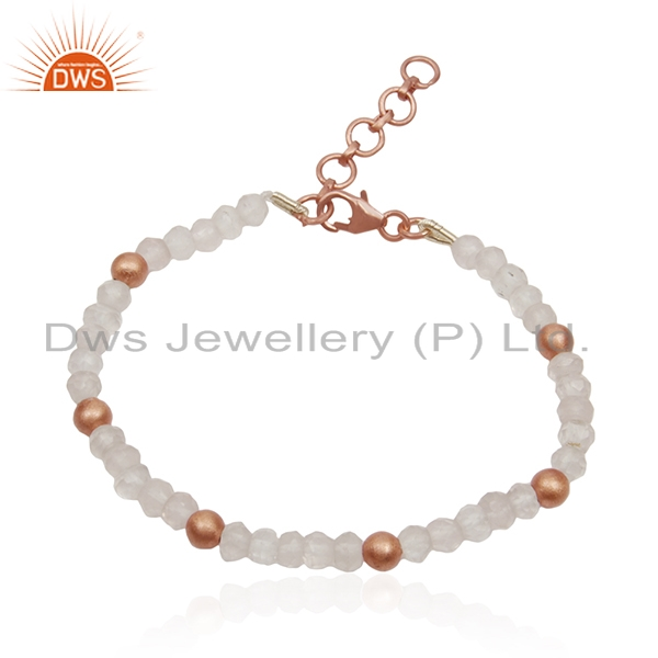 Rose Quartz Gemstone 925 Silver Rose Gold Plated Beaded Bracelet Wholesale