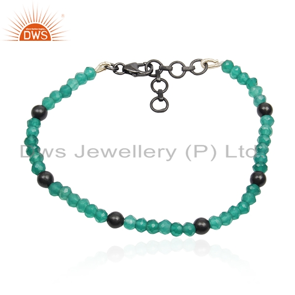 Green Onyx Gemstone Black Rhodium Plated 925 Silver Bracelet Manufacturers