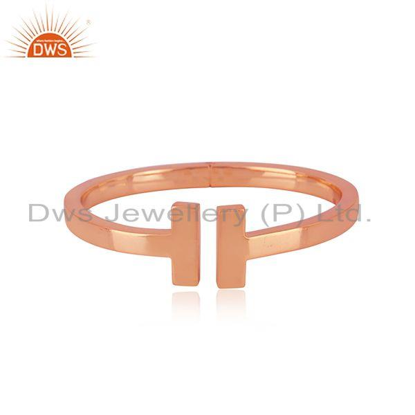 Rose Gold Plated Handmade 925 Sterling Plain Silver Cuff Bangle