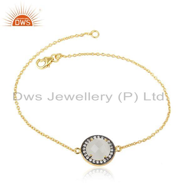 CZ White Moonstone Gemstone Silver Gold Plated Chain Bracelets