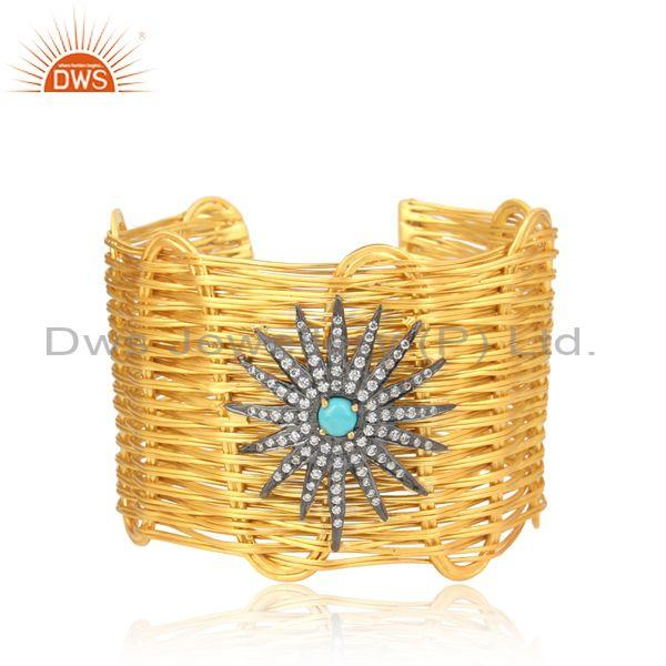CZ And Turquoise Set Gold On Silver Rope Wired Cuff Bangle