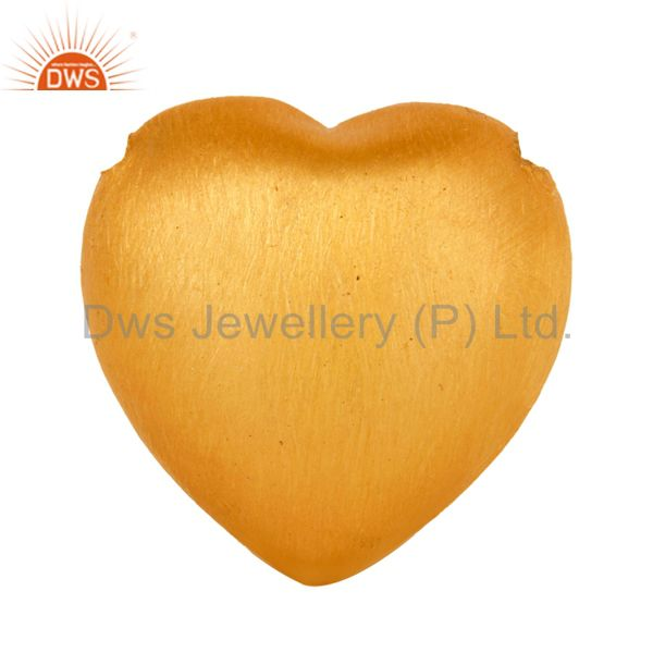18K Yellow Gold Plated Sterling SIlver Heart Shape Charms Findings Jewelry