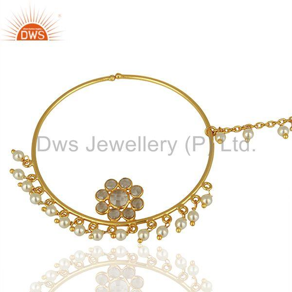 Crystal quartz gemstone gold plated silver traditional jewelry finding