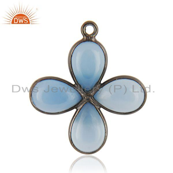 Blue Chalcedony Gemstone Black Brass Fashion Jewelry Findings Supplier