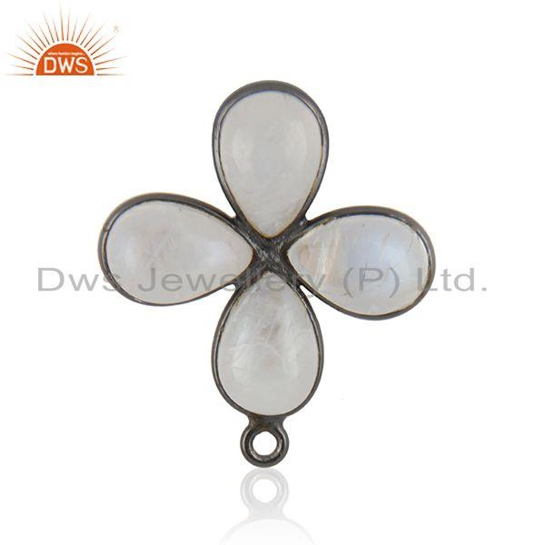 Rainbow Moonstone Black Brass Floral Design Jewelry Findings Supplier
