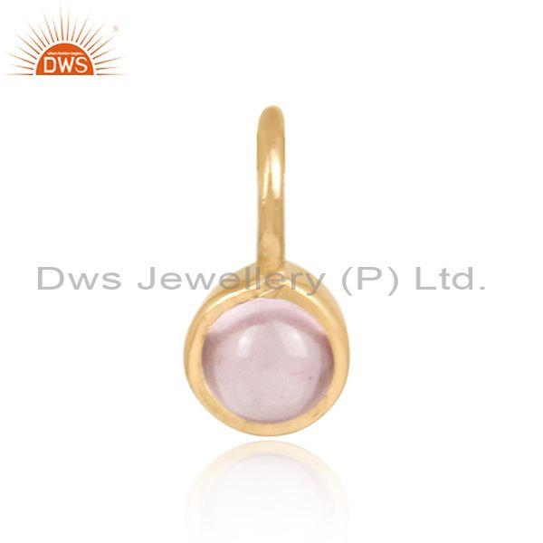Rose Quartz Set Gold On 925 Silver Jewelry Pendant Findings