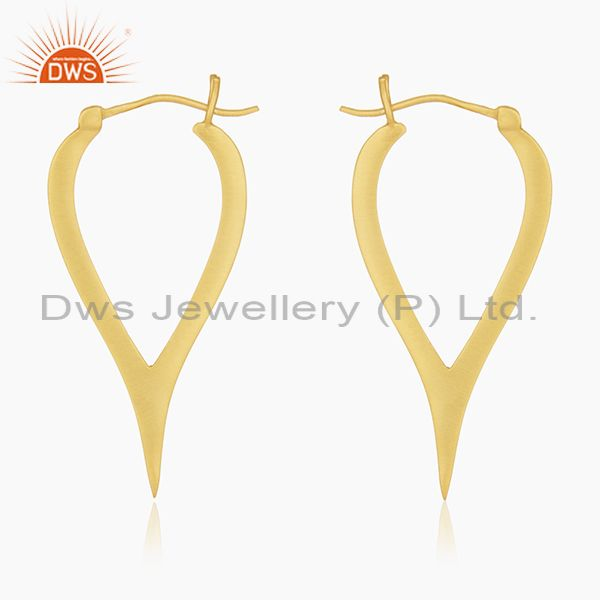 18K Yellow Gold Plated Sterling Silver Cut Out Design Hoop Earrings