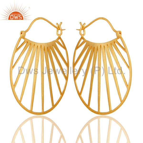 18K Yellow Gold Plated Traditional Handmade Art Deco Wide Brass Earring Jewelry