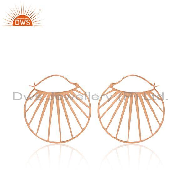 Shell Patterned Rose Plated 925 Silver Round Hoop Earrings