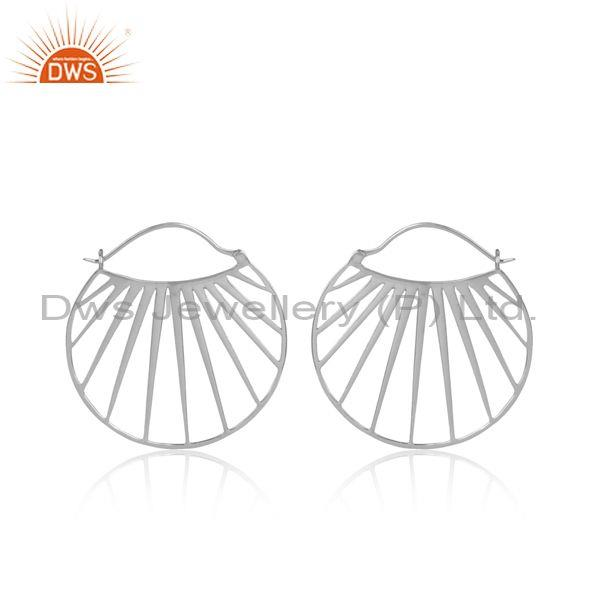 Shell Patterned White Rhodium On Silver Round Hoop Earrings