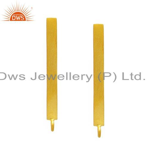 18k yellow gold plated sterling silver flat rectangular post earrings