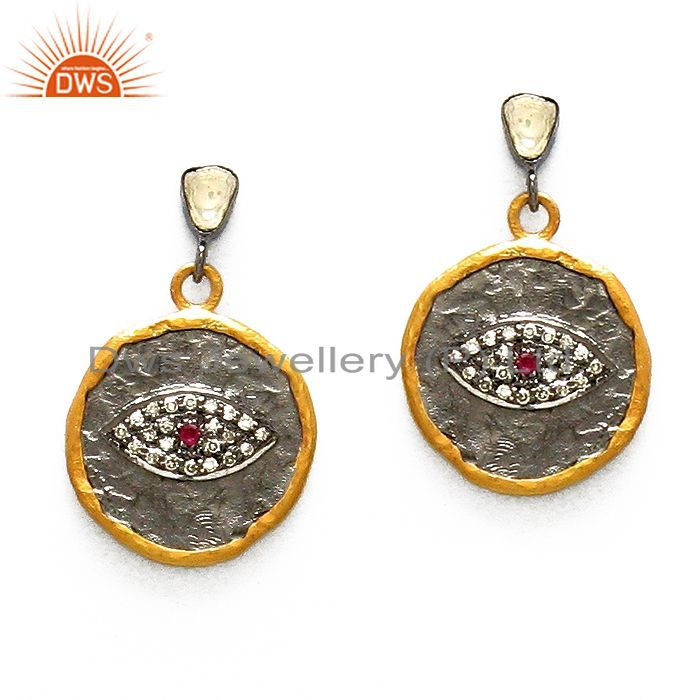 18K Yellow Gold Plated Sterling Silver Hammered Disc Design Dangle Earrings