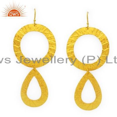 22K Yellow Gold Plated Sterling Silver Hammered Open Circle Dangle Earrings