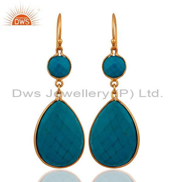 18K Yellow Gold Over Sterling Silver Turquoise Bezel Set Double Drop Earrings