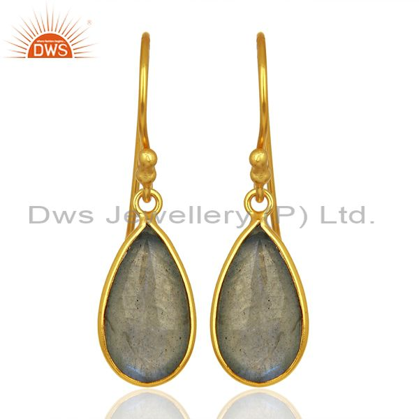 Labradorite Gemstone Gold Plated Designer Silver Earrings Jewelry