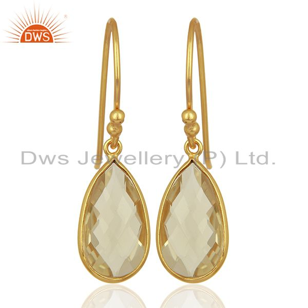 Gold Plated Lemon Topaz Gemstone Silver Womens Earrings Manufacturer