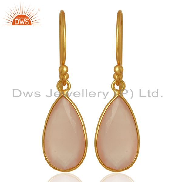 Rose Chalcedony Gemstone Earrings Gold Plated 925 Silver Earrings
