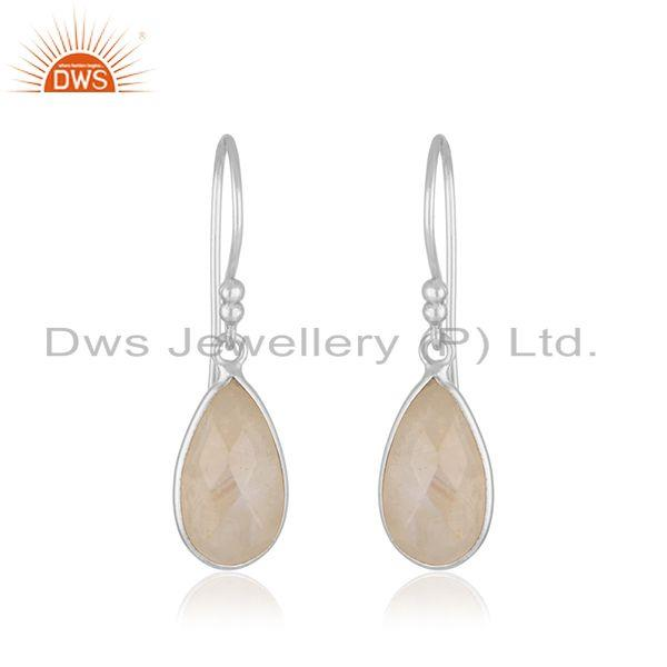 Rainbow Moonstone Fine Sterling Silver Drop Earrings Manufacturer India