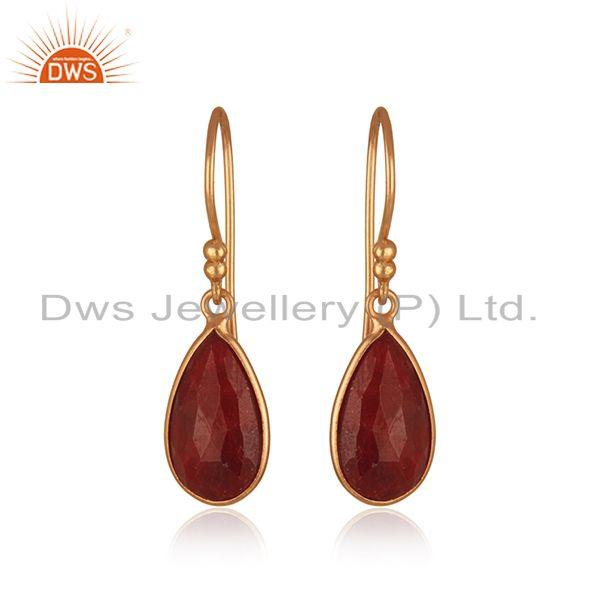 Corundum Ruby Gemstone Rose Gold Plated 925 Silver Drop Earring Wholesaler India