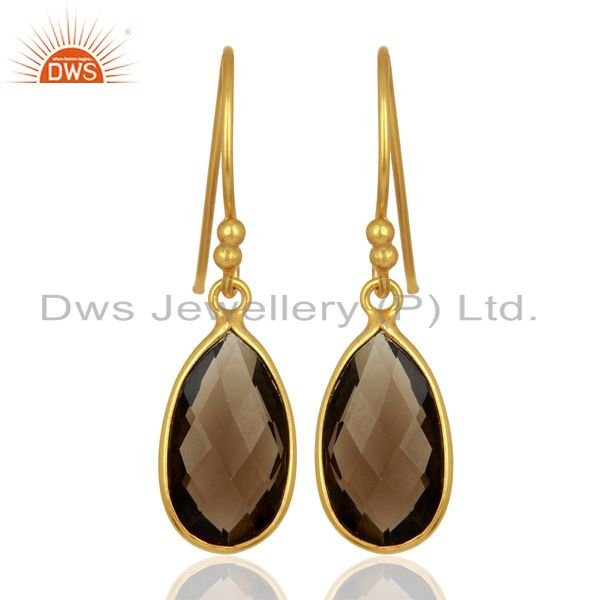 Indian Gold Plated Silver Smoky Quartz Gemstone Earrings Jewelry