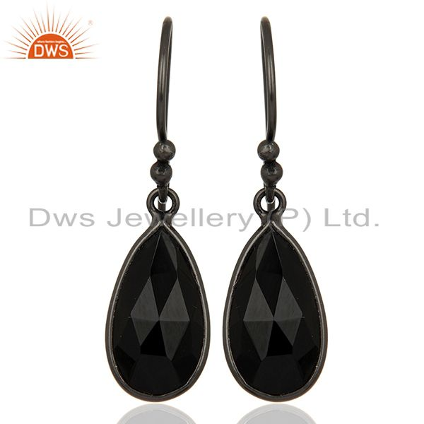 Natural Black Onyx Gemstone Black Rhodium Plated Earring Manufacturer