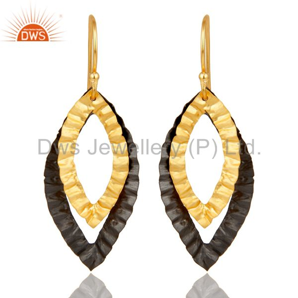 22K Yellow Gold Plated Brass Hammered Open Marquise Dangle Earrings
