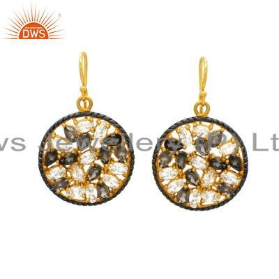 18K Yellow Gold Plated Sterling Silver Smoky Quartz And Cubic Zirconia Earrings