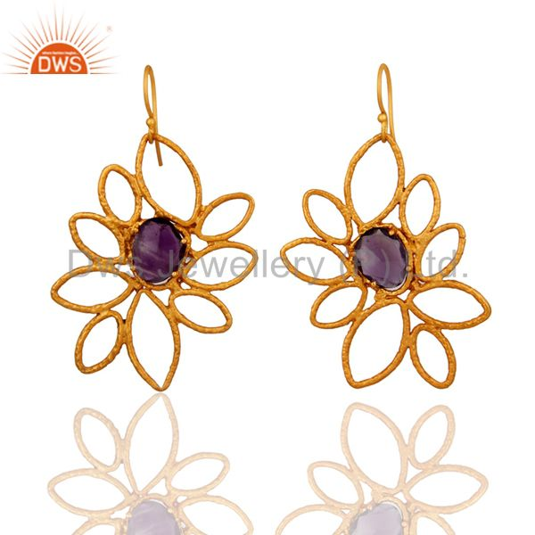 Handmade Natural Amethyst Gemstone 18-Karat Gold Plated Designer Earrings