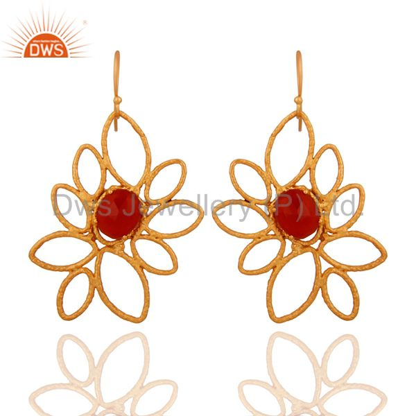 Natural Red Onyx Gemstone Designer Earrings In 18K Gold Over Brass