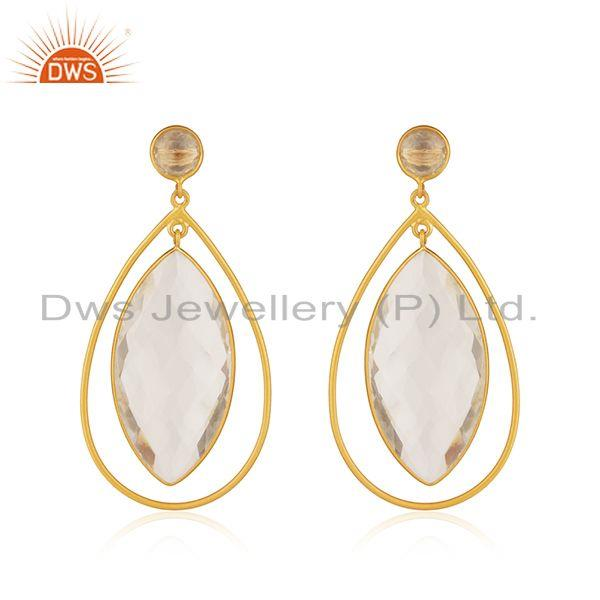 18K Yellow Gold Plated Natural Quartz Crystal Sterling Silver Tear Drop Earrings
