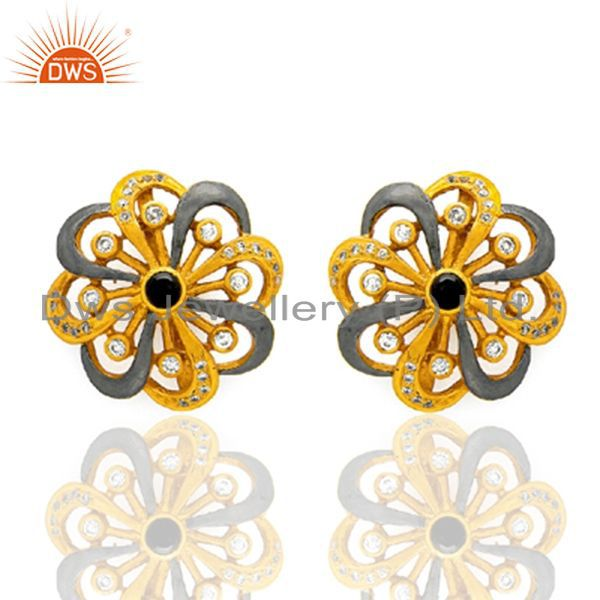 18K Yellow Gold Plated Brass Smoky Quartz And CZ Designer Stud Earrings