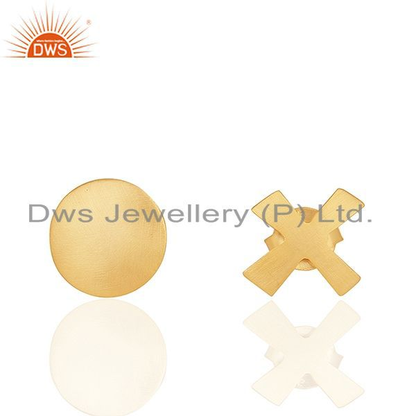 18K Yellow Gold Plated Sterling Silver Hammered Disc Designer Stud Earrings