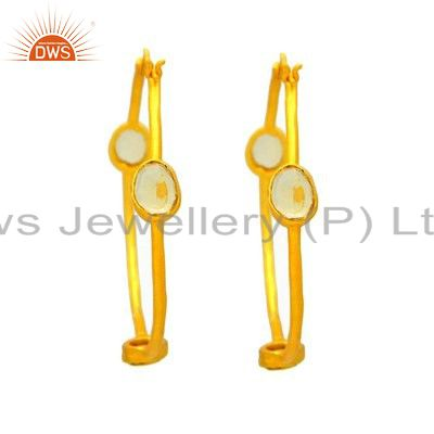 18K Yellow Gold Plated Sterling Silver Citrine Gemstone Hoop Earrings